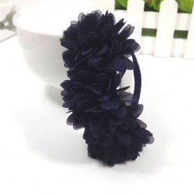 Karet Ikat Rambut Model Flower 1 PCS - Navy Blue