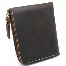 Dompet Kulit Pria VIntage dengan Pengunci Resleting - Dark Brown