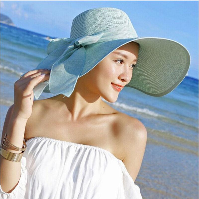Topi Pantai Wanita Model Pita - Sky Blue - JakartaNotebook.com 06f52b6731