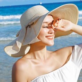 Topi Pantai Wanita Model Pita - Beige