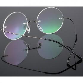 Kacamata Bulat Ultra Light Rimless Titanium - Black