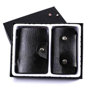 Paket Gantungan Kunci Dompet Kartu Kulit - Black