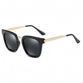 Kacamata Wanita Oversized Metal Anti UV - Black Gold