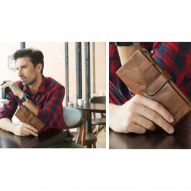 Dompet Kulit Clutch Pria Model Long - Brown - 6