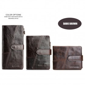 Dompet Kulit Clutch Pria Model Long - Brown - 7