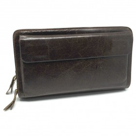 Dompet Kulit Clutch Pria Double Zipper - Brown