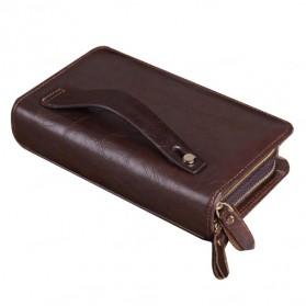Dompet Kulit Clutch Pria Double Zipper - Brown - 4