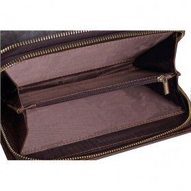 Dompet Kulit Clutch Pria Double Zipper - Brown - 7