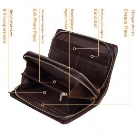 Dompet Kulit Clutch Pria Double Zipper - Brown - 9