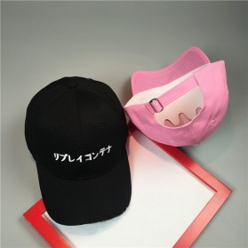 Topi Baseball Japanese Letter Katakana - Black - 4