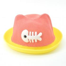 Topi Pantai Bayi Motif Ikan Lucu - Pink