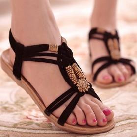 Sandal Selop Wanita Flat Bohemian Summer Size 37 - Black - 1