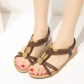 Sandal Selop Wanita Flat Bohemian Summer Size 37 - Black - 3
