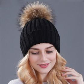 Kupluk Winter Wanita Model Pom Pom Beanie Hat - Black - 2
