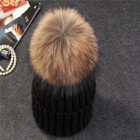 Kupluk Winter Wanita Model Pom Pom Beanie Hat - Black - 3