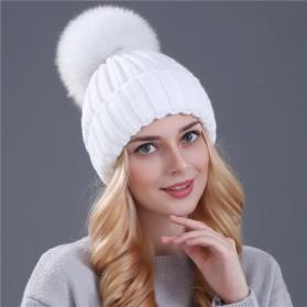 Kupluk Winter Wanita Model Pom Pom Beanie Hat - Black - 6