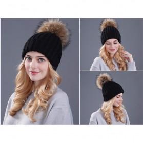 Kupluk Winter Wanita Model Pom Pom Beanie Hat - Black - 7