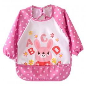 Celemek Bayi Lengan Panjang Waterproof - Pink