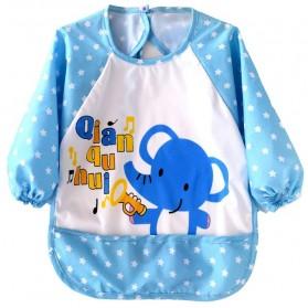 Celemek Bayi Lengan Panjang Waterproof - Blue