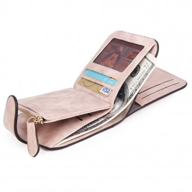 Dompet Wanita Kecil Lipat Matte Vintage Wallet - Pink - 4