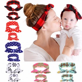 Bando Bayi dan Ibu Newborn Lucu Model Rabbit Ear 2 PCS - Black/Red