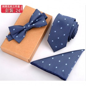 Set 3 in 1 Dasi Kupu-Kupu + Dasi Formal + Sapu Tangan Handkerchief - Light Blue