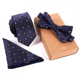 Set 3 in 1 Dasi Kupu-Kupu + Dasi Formal + Sapu Tangan Handkerchief - Navy Blue