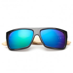 Bamboo Kacamata Fashion Sunglasses - Black/Green