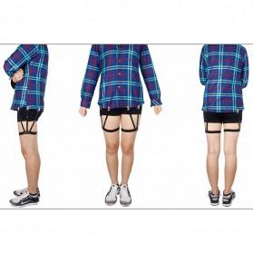 Hidden Suspender Pakaian Pria Stay Garters Leg Braces 2 PCS - Black - 3