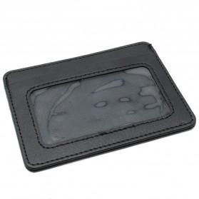Dompet Kartu Bahan Kulit dengan Slot Transparan Mini Card Holder - Black