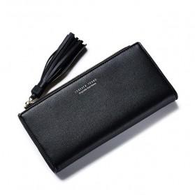 Dompet Wanita Clutch Long Zipper Coin Wallet - Black