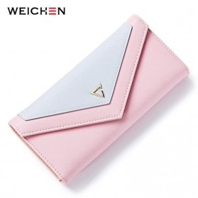 Dompet Wanita Clutch Geometric Zipper Coin Wallet - Pink