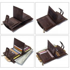 CONTACTS Dompet Kulit Genuine Pria - 1238 - Coffee - 3