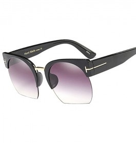 Kacamata Vintage Wanita Semi Rimless Fashion Sunglasses - Gray - 2