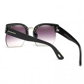 Kacamata Vintage Wanita Semi Rimless Fashion Sunglasses - Gray - 3