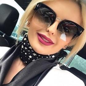Kacamata Vintage Wanita Semi Rimless Fashion Sunglasses - Gray - 4