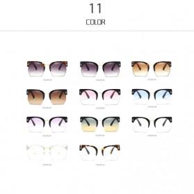 Kacamata Vintage Wanita Semi Rimless Fashion Sunglasses - Gray - 5