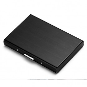 Dompet Kartu Slim Aluminium 6 Slot Model Kotak - Black