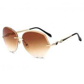 Kacamata Wanita Luxury Sunglasses Anti UV - Brown