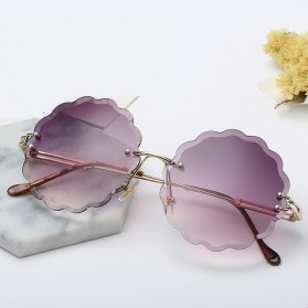 Kacamata Fashion Wanita Frameless Flower Cut Sunglasses - Purple