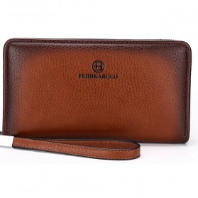FEIDIKABOLO Dompet Pria Long Zipper Wallet - 009 (Replika 1:1) - Khaki