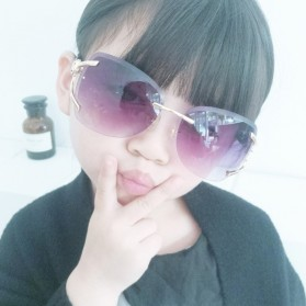 Kacamata Fashion Anak Perempuan Frameless Sunglasses - Purple - 5
