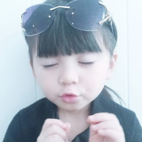 Kacamata Fashion Anak Perempuan Frameless Sunglasses - Gray - 6