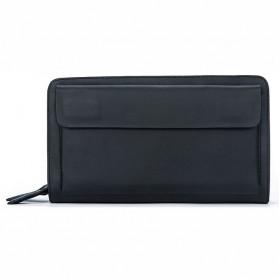 Dompet Clutch Pria Double Zipper Bahan Kulit Sapi - Black