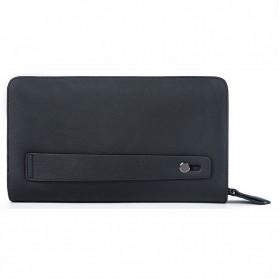 Dompet Clutch Pria Double Zipper Bahan Kulit Sapi - Black - 2
