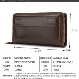 Dompet Clutch Pria Double Zipper Bahan Kulit Sapi - Black - 4