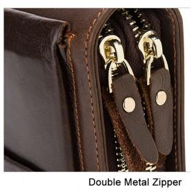 Dompet Clutch Pria Double Zipper Bahan Kulit Sapi - Black - 6
