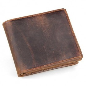 Dompet Kulit  Pria Vintage Oil Wax Cowhide Leather - Brown/Red