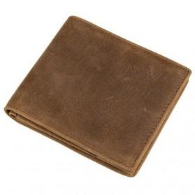 Dompet Kulit  Pria Vintage Oil Wax Cowhide Leather - Brown - 1