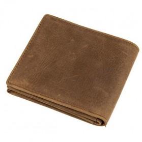 Dompet Kulit  Pria Vintage Oil Wax Cowhide Leather - Brown - 2
